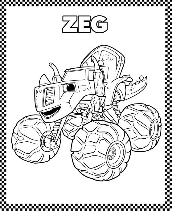 Monstertruckcoloingpages Nicklelodeon Zeg