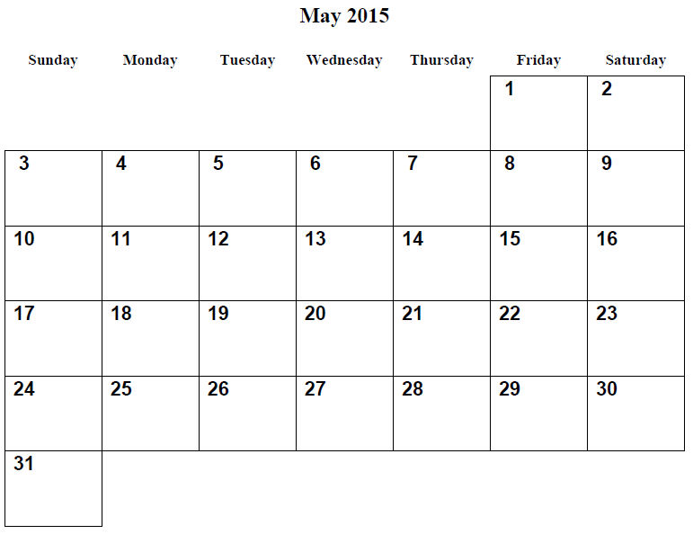 Monthly Calendar Printable 2015 May 001