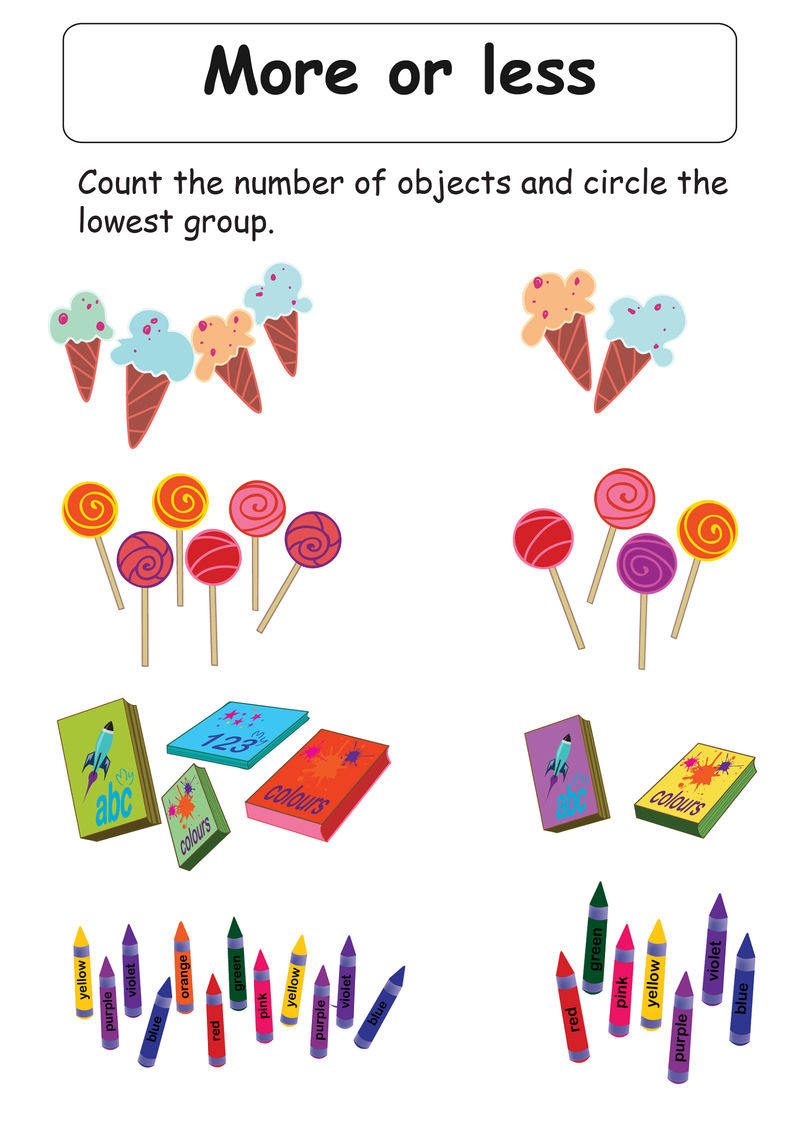 More Less Worksheets For Kids