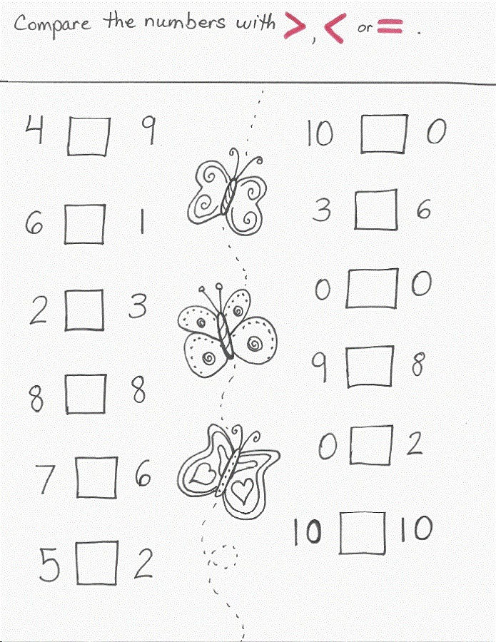 More Less Worksheets Simple
