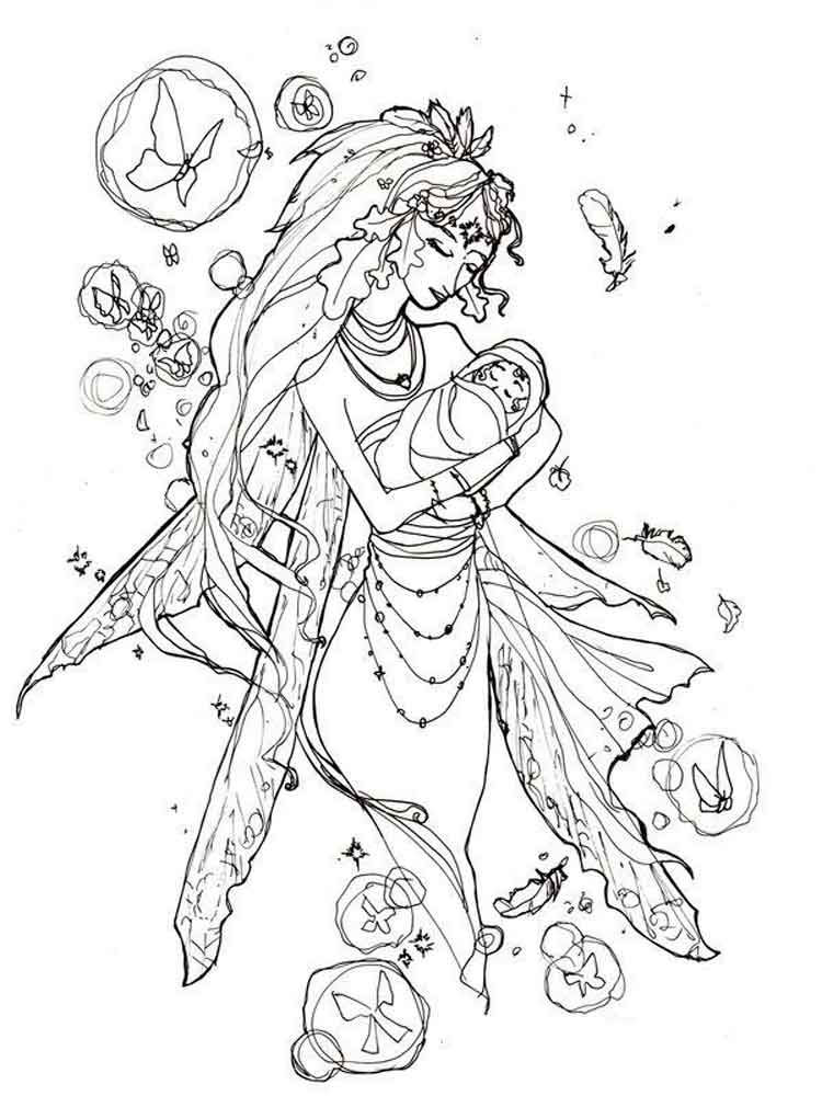 Mother Fairy Coloring Pages