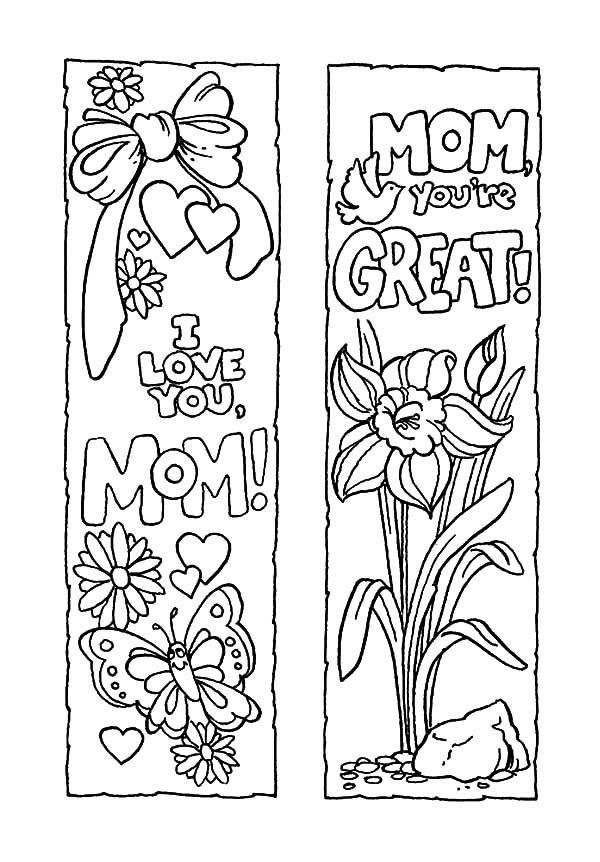 Mothers Day Bookmarks To Print And Color