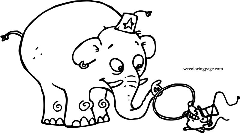 Mouse And Elephant Circus Coloring Page