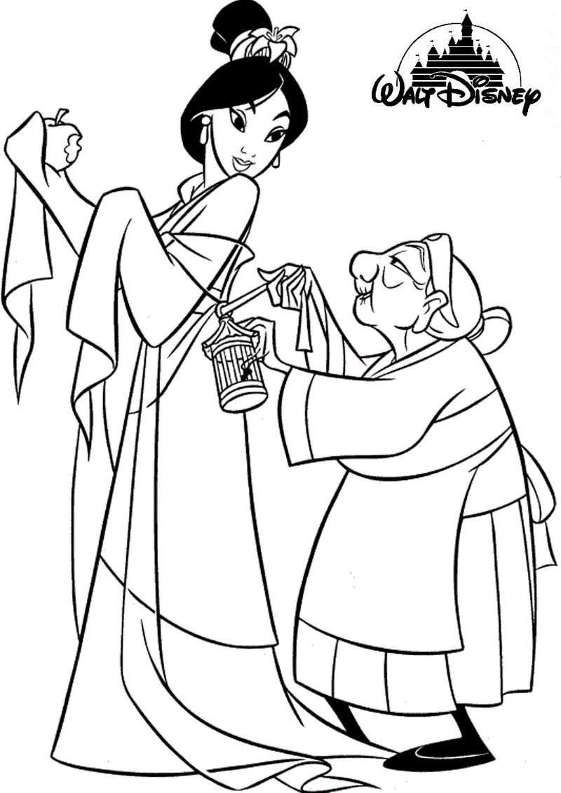 Mulan Disney Princess Coloring Page