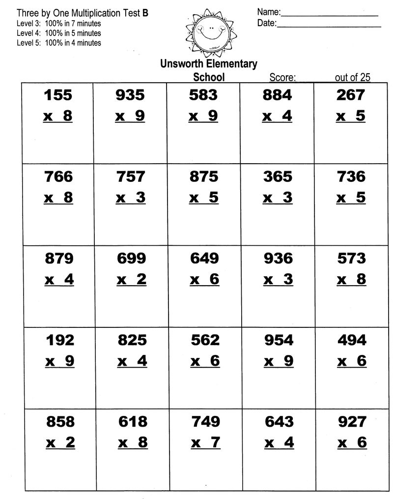 Multiplication Speed Test Worksheet