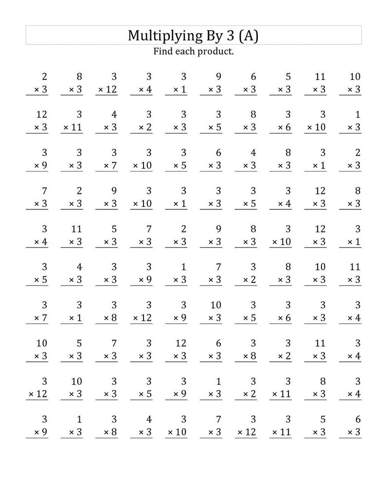 Multiply By 3 Worksheets Hard