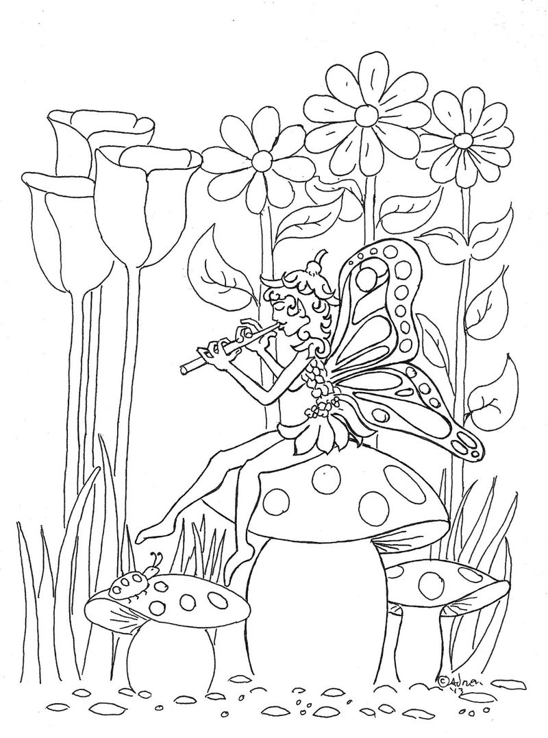 Music Fairy In Garden Coloring Page