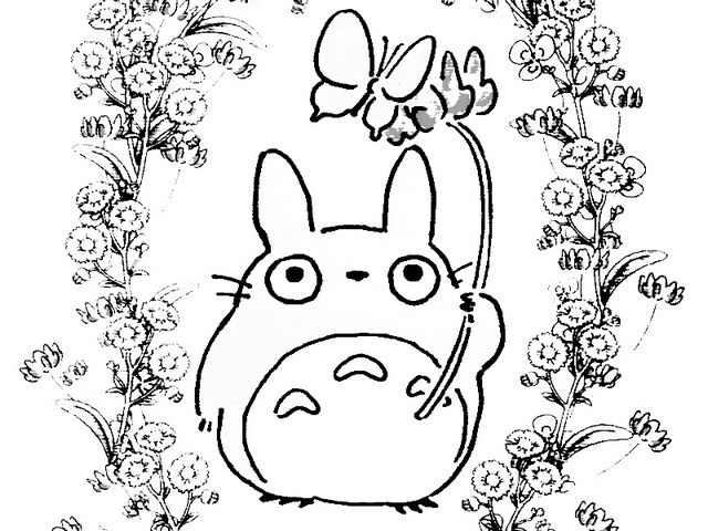 My Neighbor Totoro In The Garden Coloring Sheet