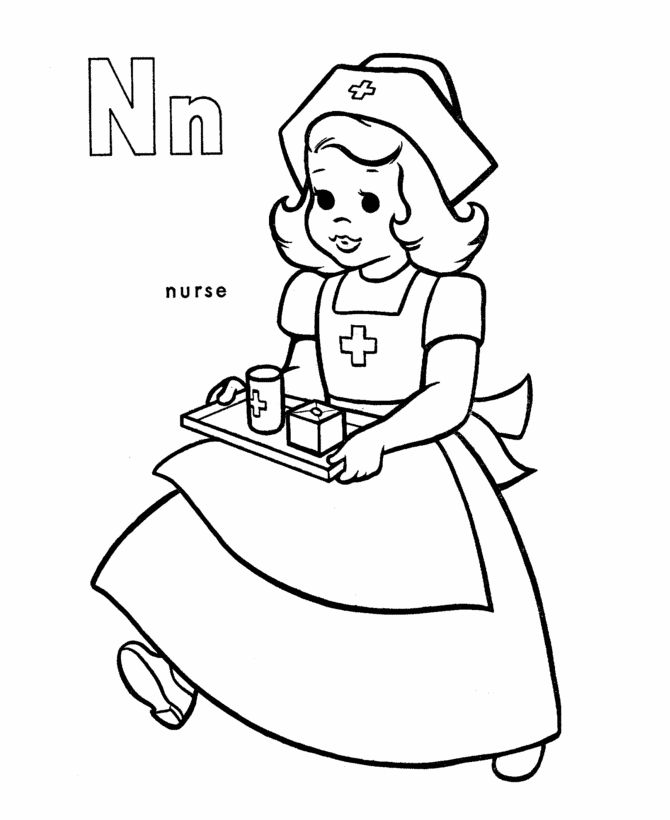 N Is For Nurse Coloring Pages For Preschool 001