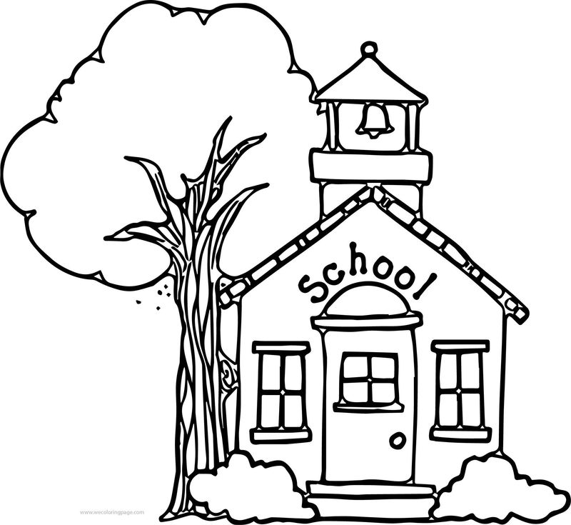 Nice School Building Coloring Page