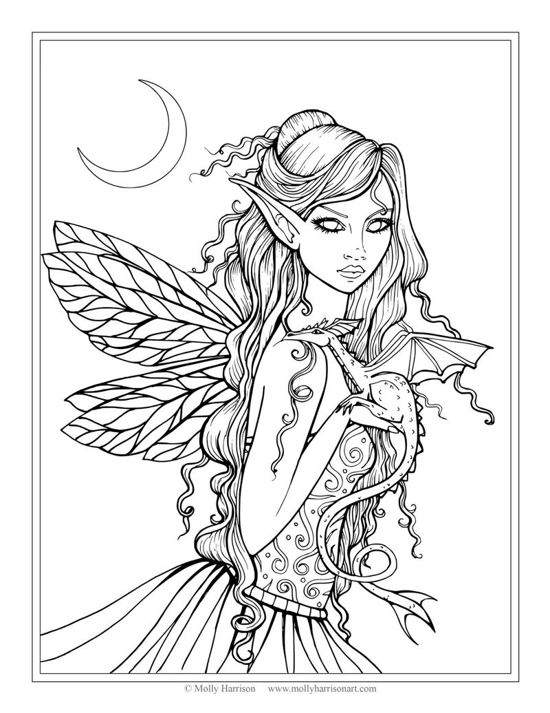 Night Fairy Coloring Pages