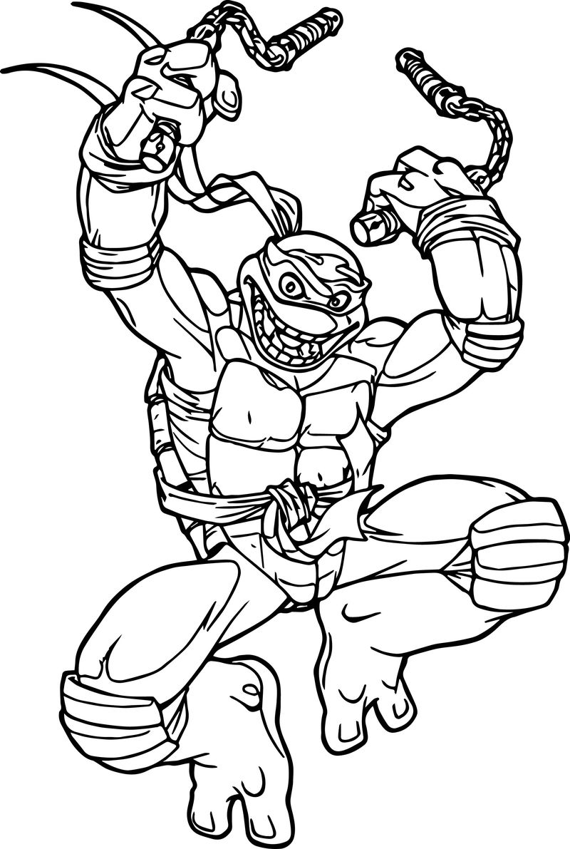 Ninja Tortoise Turtle Attack Coloring Page