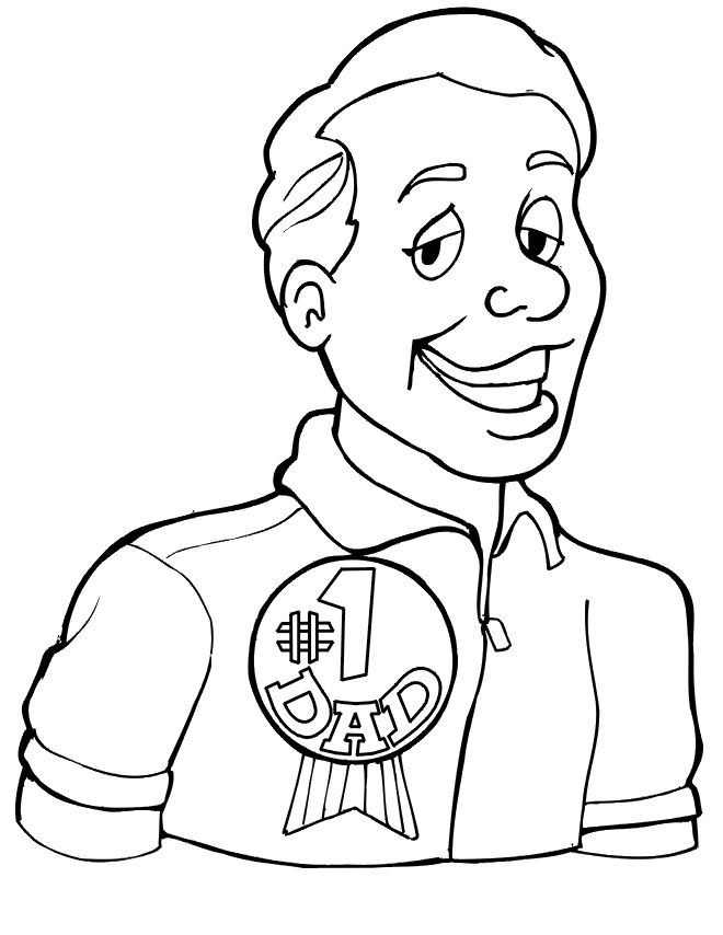 No.1 Dad Fathers Day Coloring Pages 001
