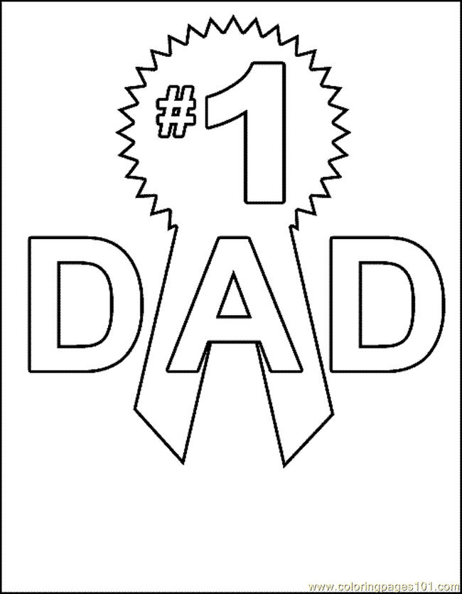 Number 1 Dad Fathers Day Coloring Page 001