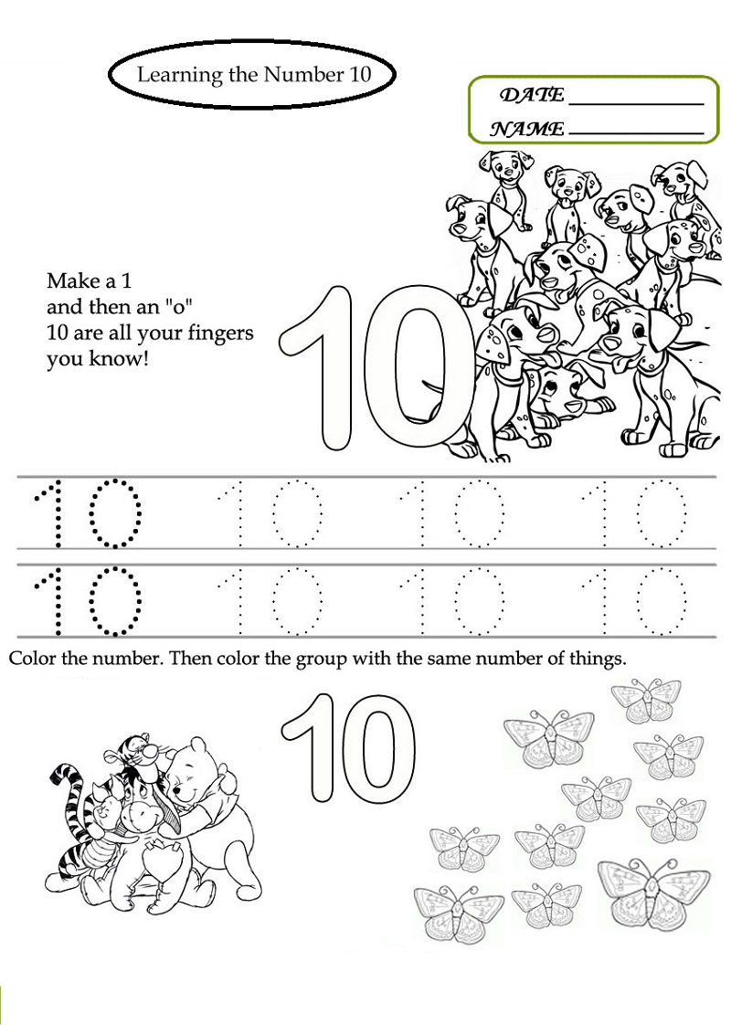 Number 10 Worksheets Activity
