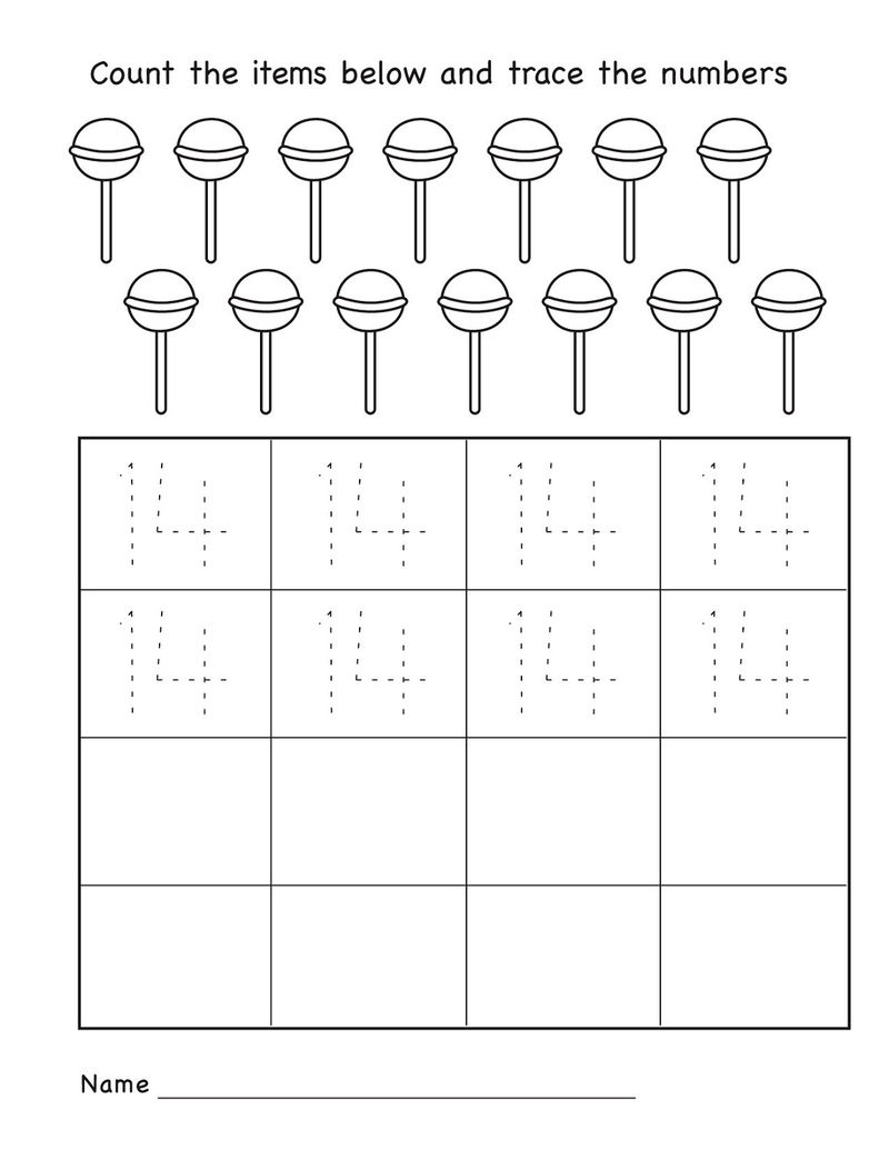 Number 14 Worksheets Kindergarten