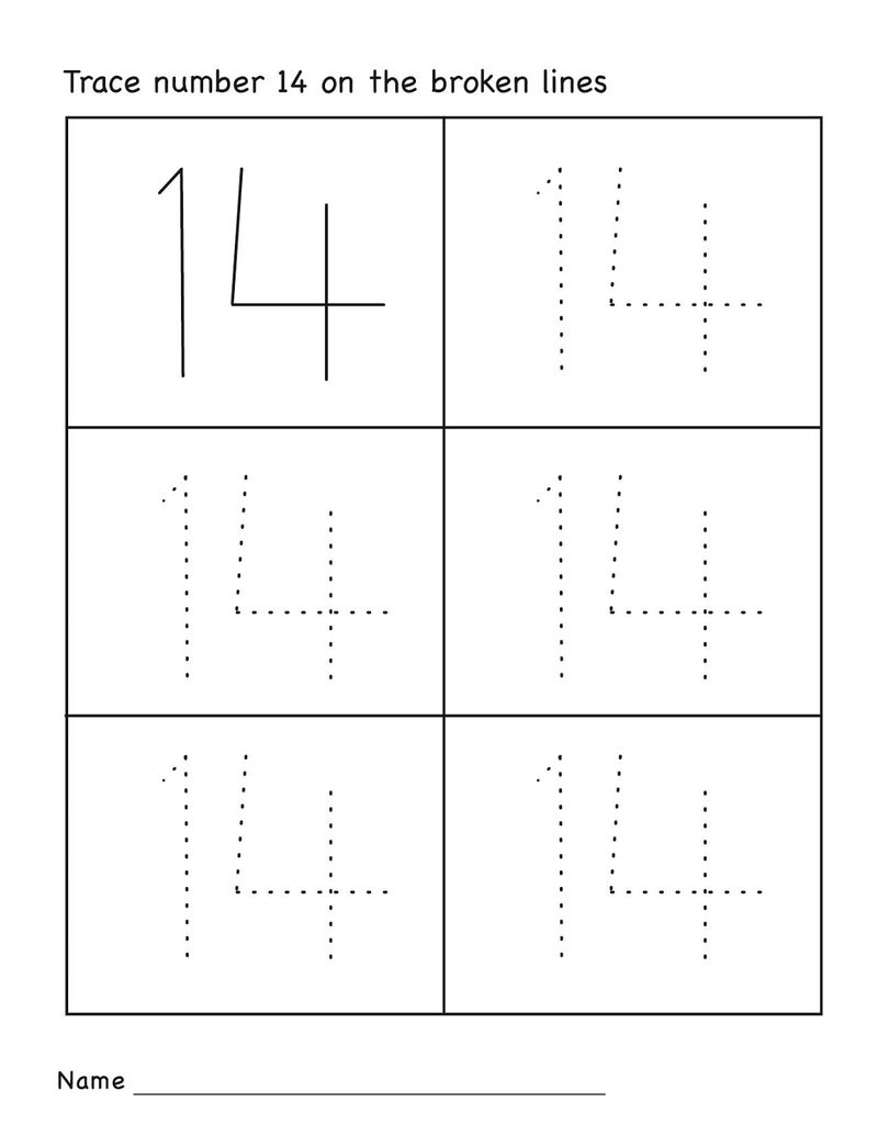 Number 14 worksheets pre k