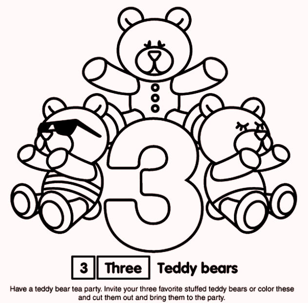 Number 3 Three Coloring Pages