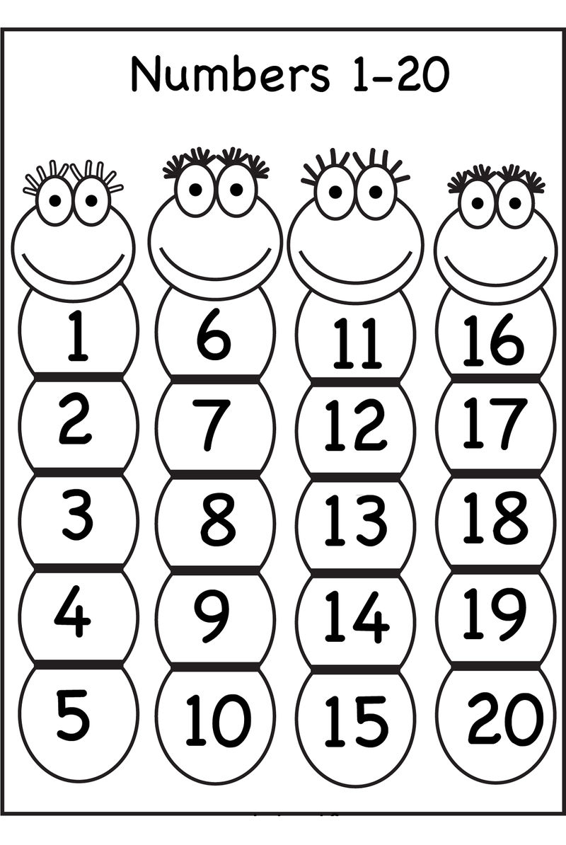 Number Chart 1 20 For Kids