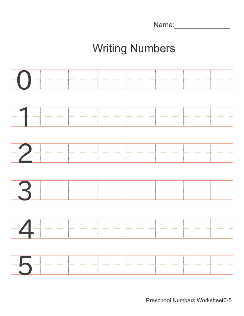 Number Practice Sheets For Writing