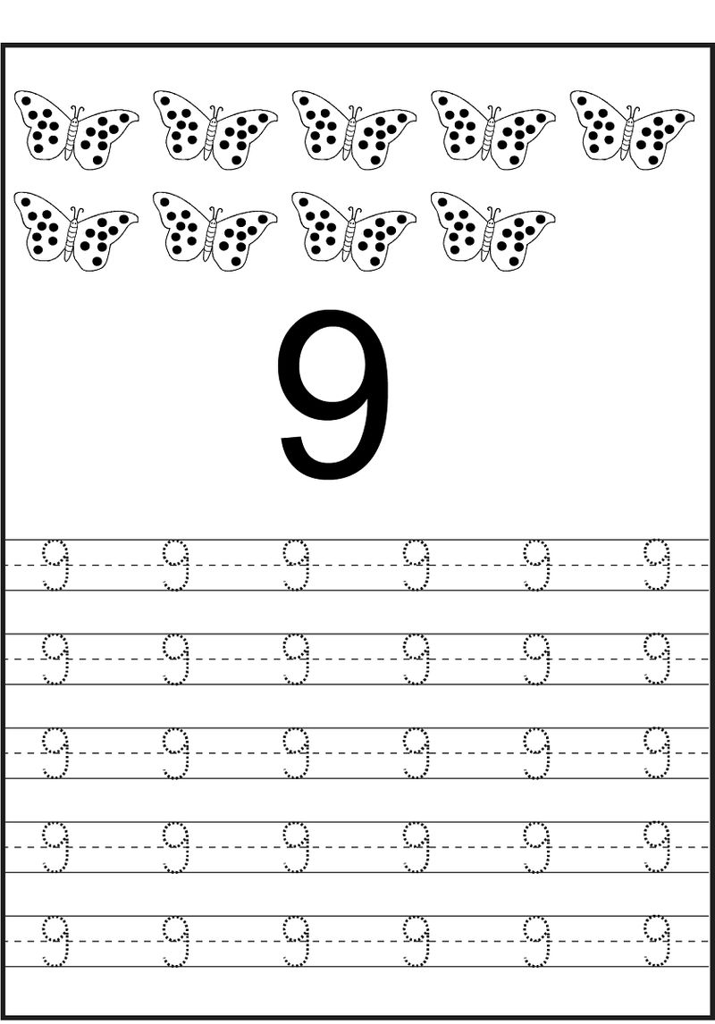 Number Trace Worksheet 9 Butterfly 001
