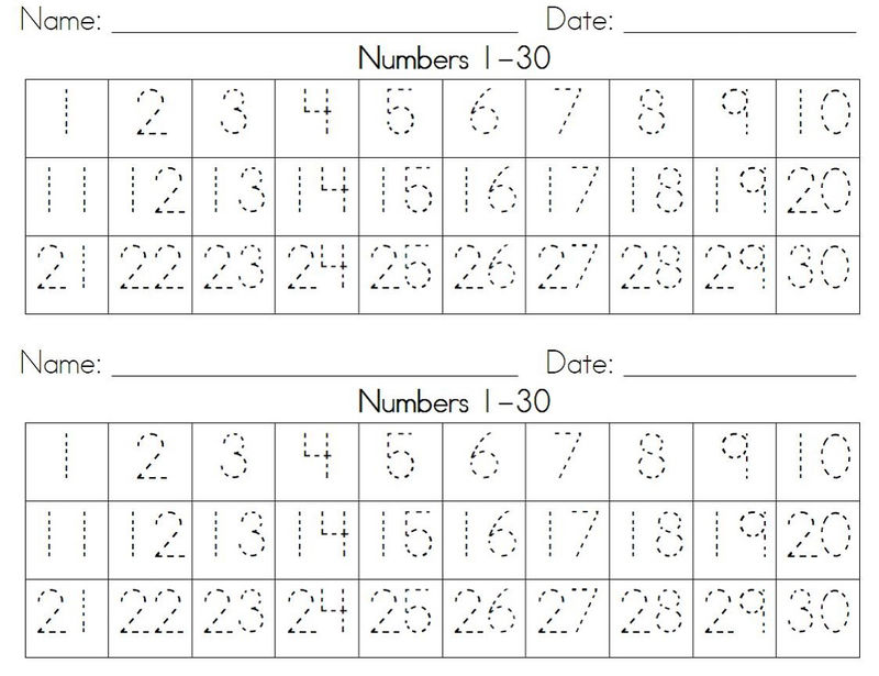 Numbers 1 30 Worksheet For Children