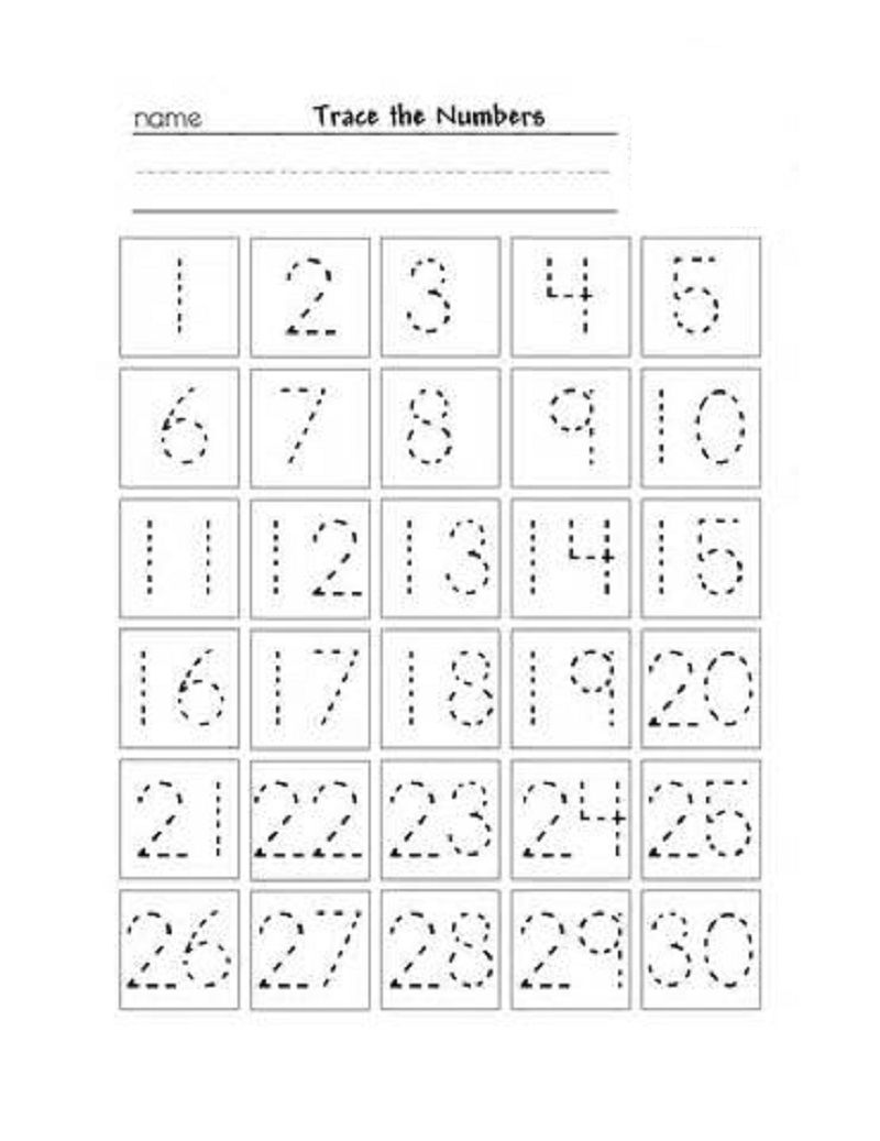 Numbers 1 30 Worksheet Trace