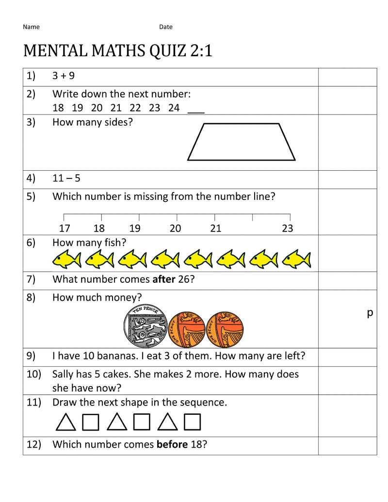 Numeracy Worksheets 2nd