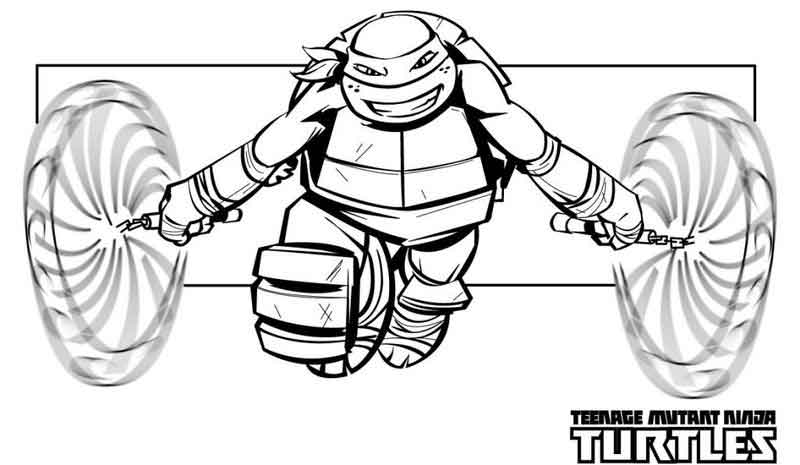 Nunchucks Teenage Mutant Ninja Turtles Coloring Pages