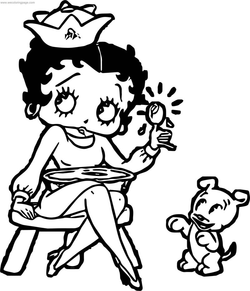 Nurse Betty Boop And Dog Coloring Page