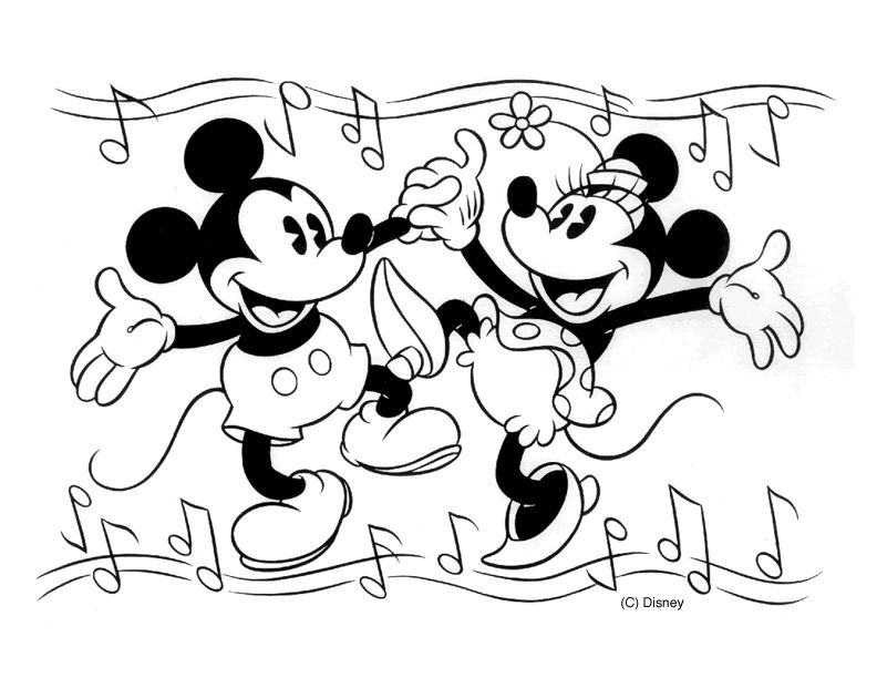 Oldschool Mickey And Minnie Mouse Dancing Coloring Pages