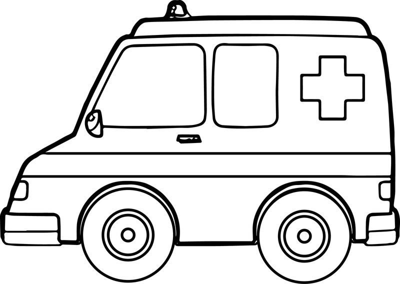One Ambulance Coloring Page