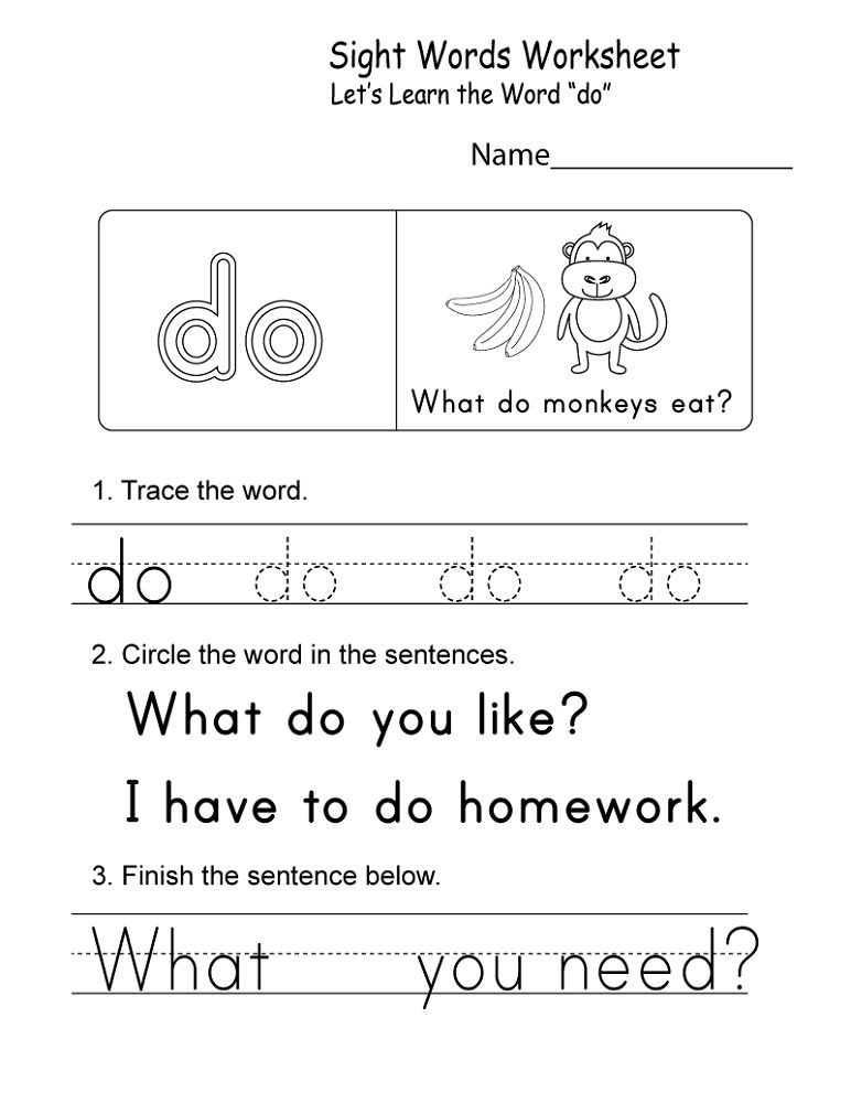 Online Worksheets For Kindergarten Words