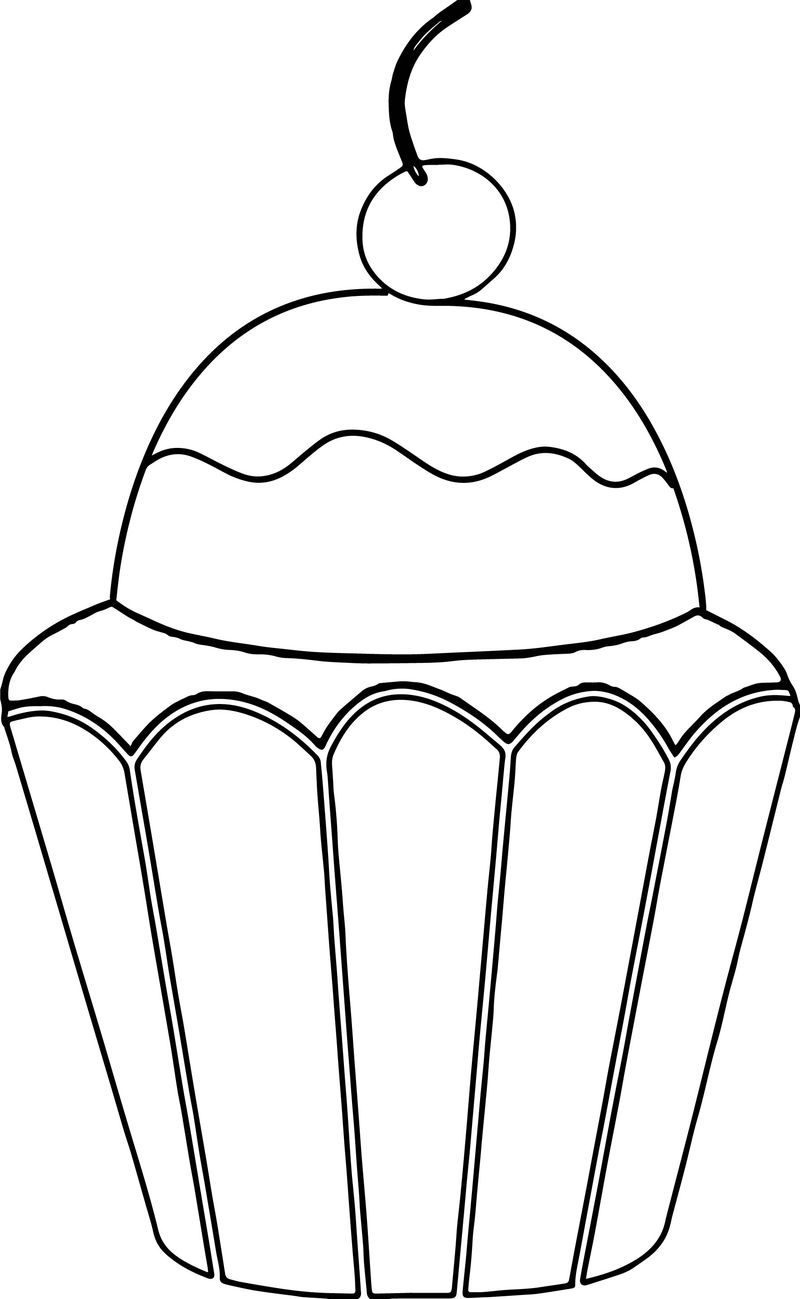 Orange Birthday Cupcake With Cherry On Top Coloring Page