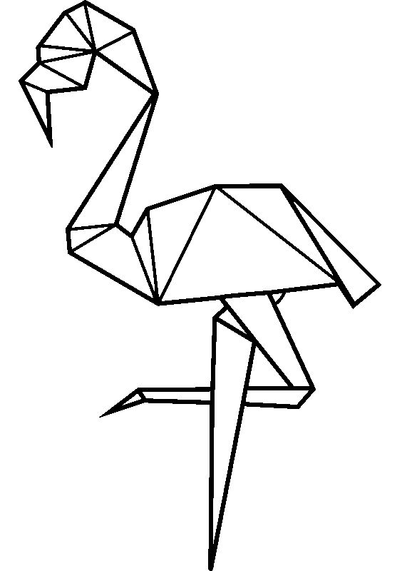 Origami Flamant Rose Ambiance Coloring Sheet
