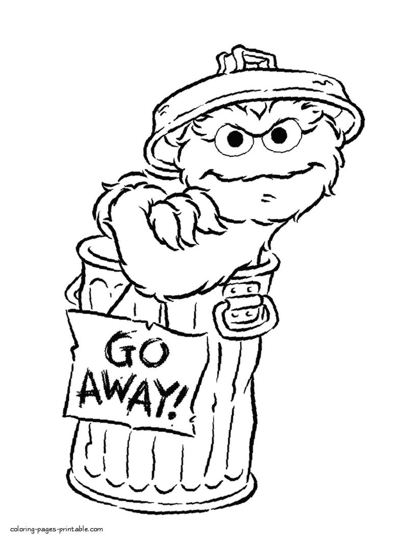 Oscar The Grouch Sesame Street Coloring Page