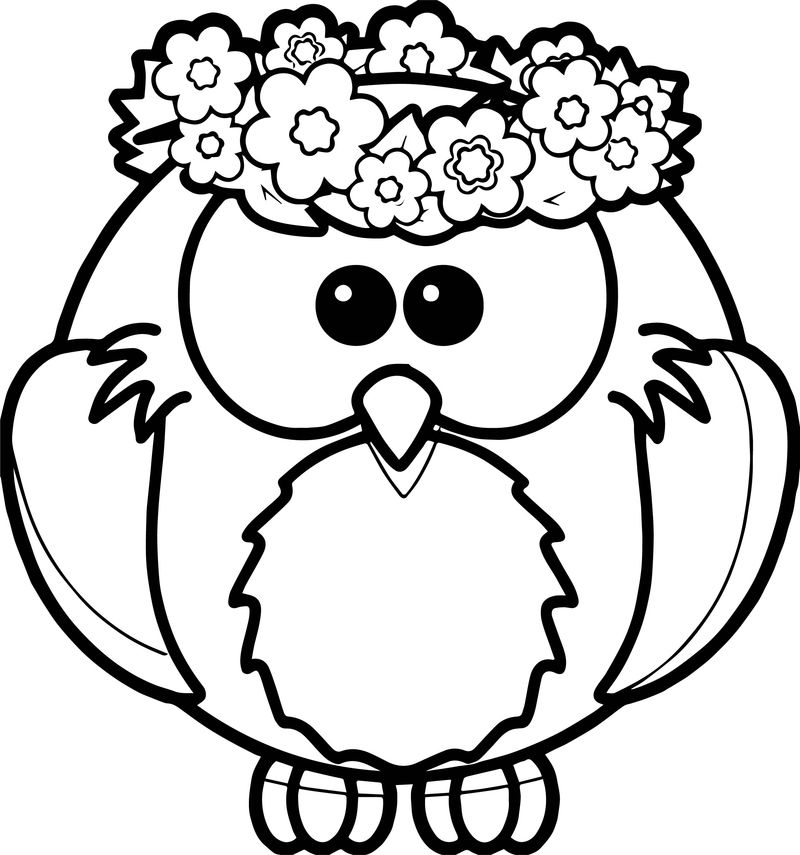 Owl Spring Coloring Page