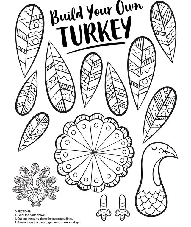 Paper Turkey Coloring Page