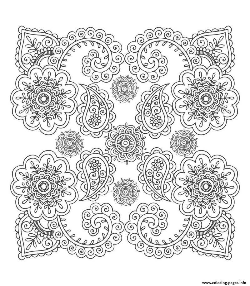 Pattern Flower Design Coloring For Adults