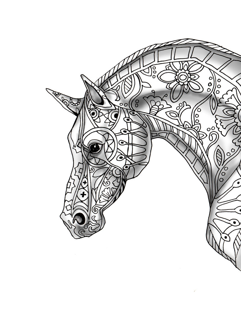 Pattern Horse With Shading Coloring Page