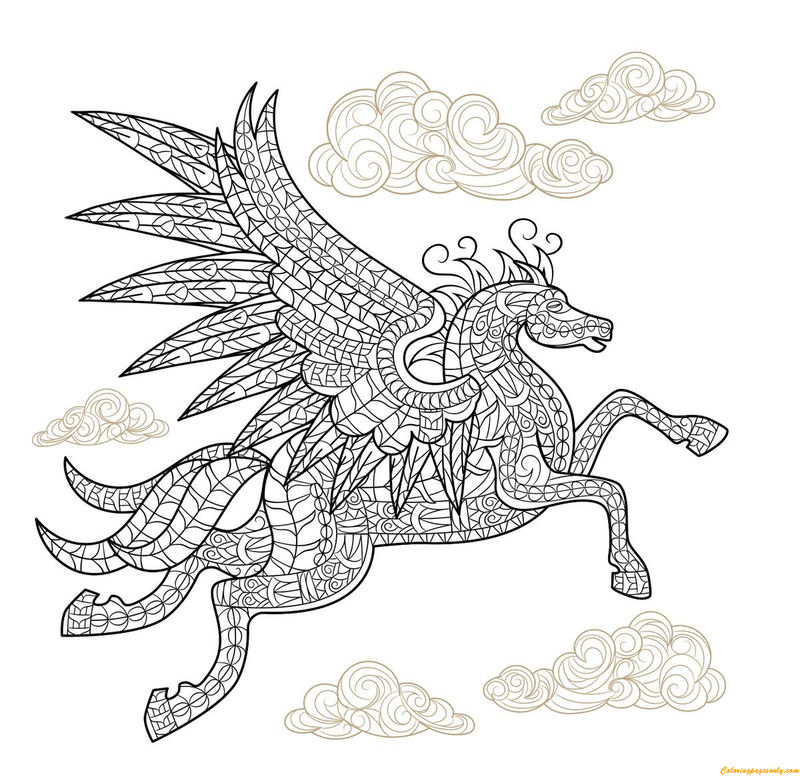 Pegasus Horse With Wings Coloring Page