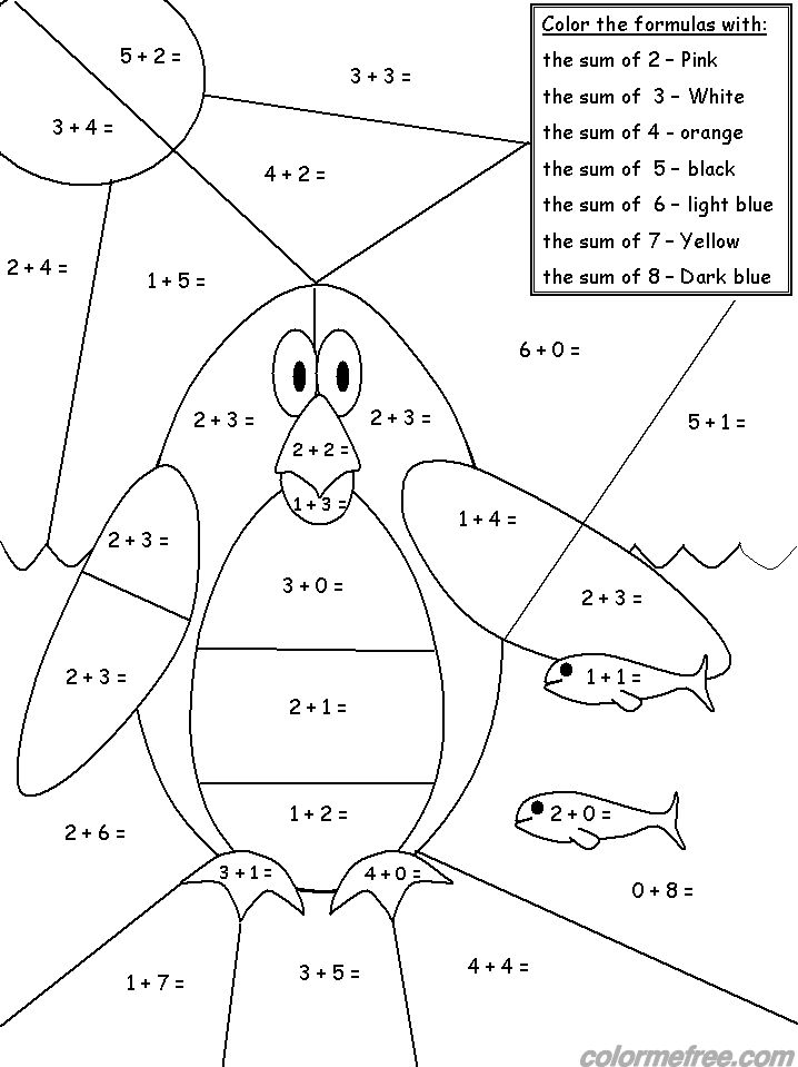 Penguin Addition Color By Number Printable