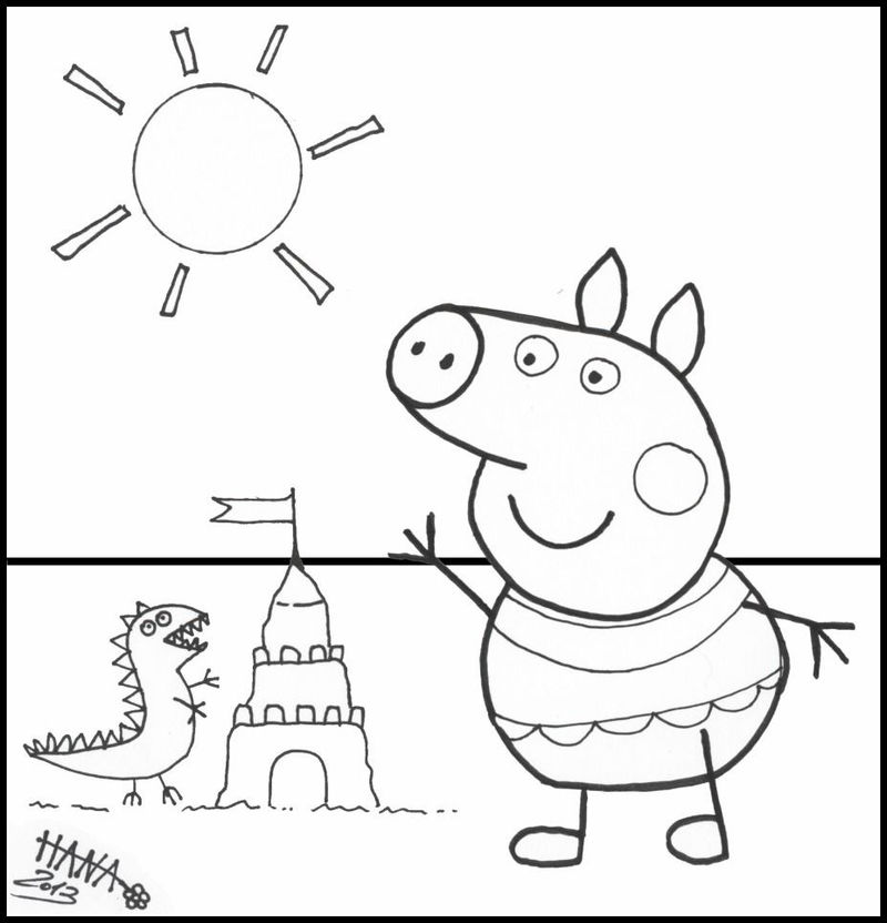 Peppa Pig Beach Coloring Pages