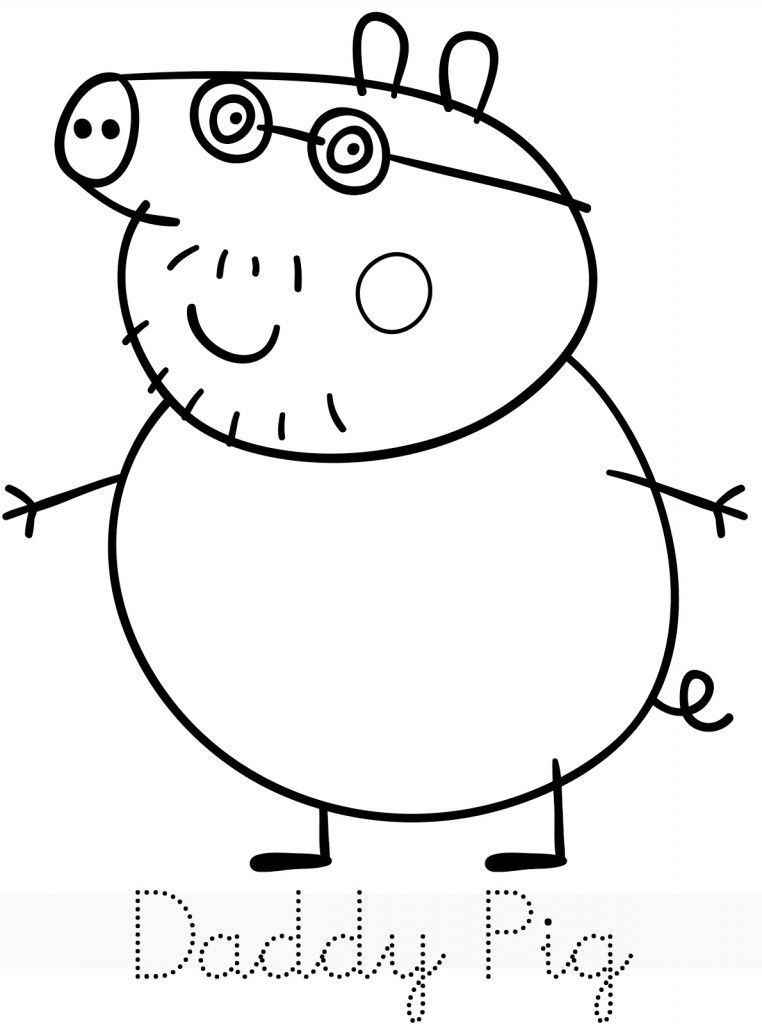 Peppa Pig Daddy Pig Coloring Page