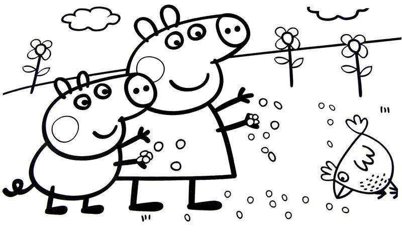 Peppa Pig Feeding Chickens Coloring Pages