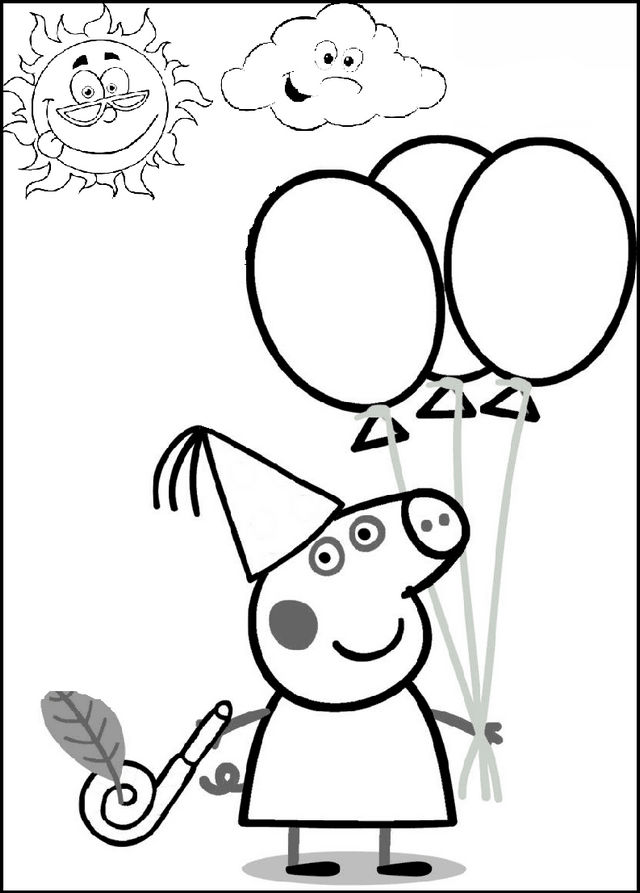 Peppa Pig Holding Balloons Coloring Picture