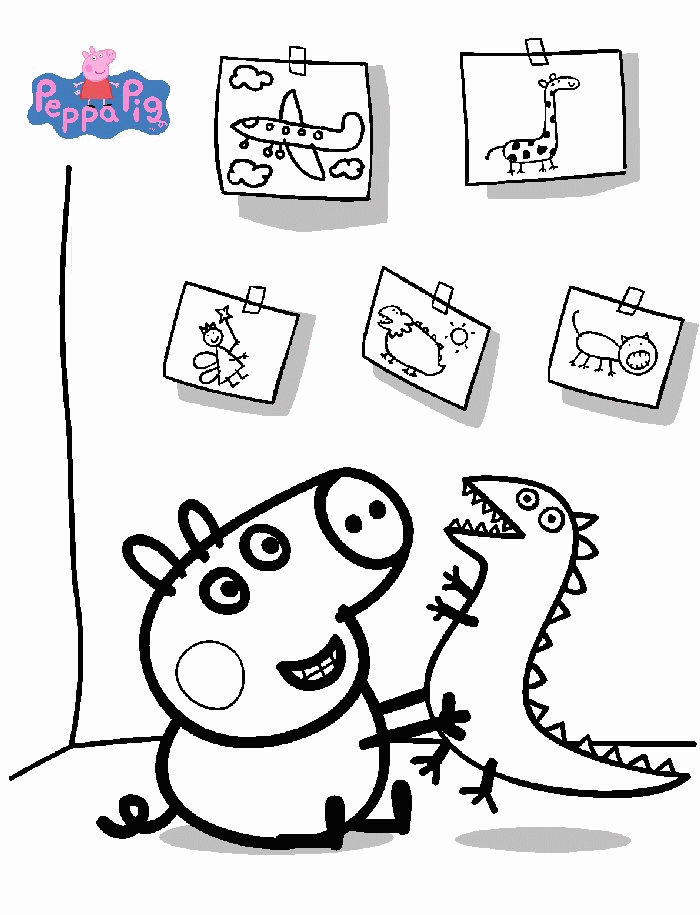 Peppa Pig Playing Coloring Pages