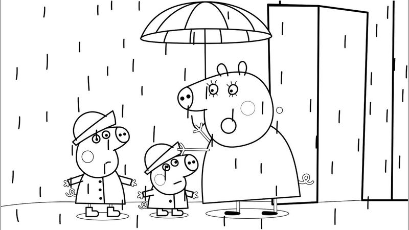 Peppa Pig Rainy Day Coloring Pages