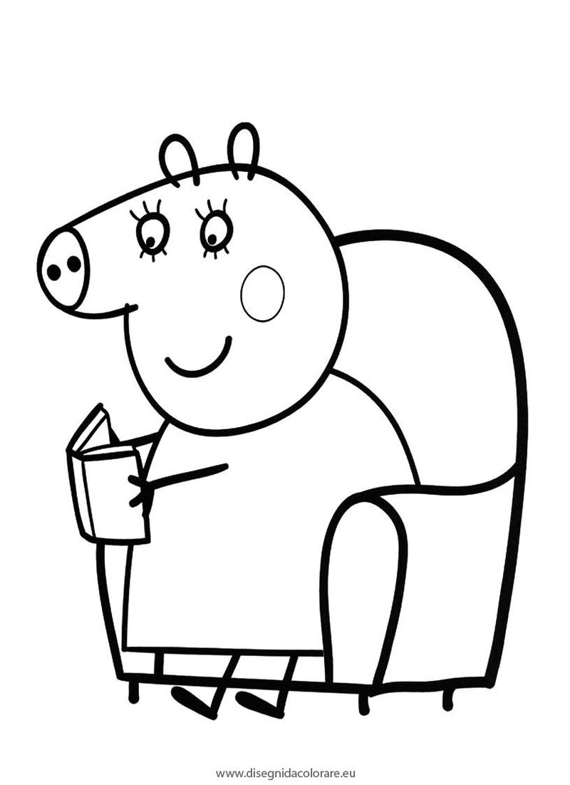 Peppa Pig Reading Coloring Pages