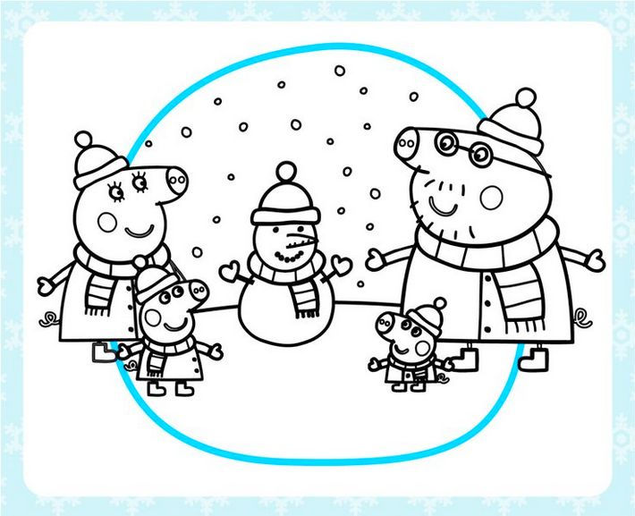 Peppa Pig Snow Coloring Page